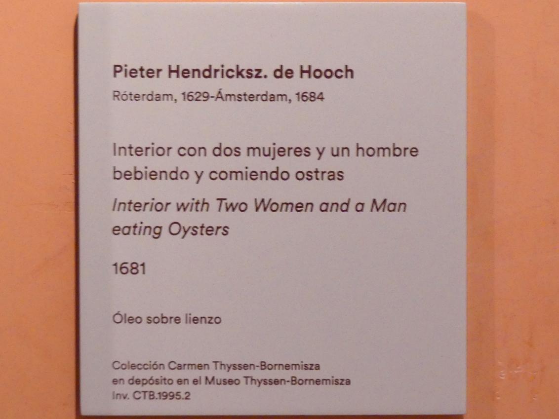 Pieter de Hooch: Interieur mit zwei Männern und einer Frau beim Austern essen, 1681, Bild 2/2