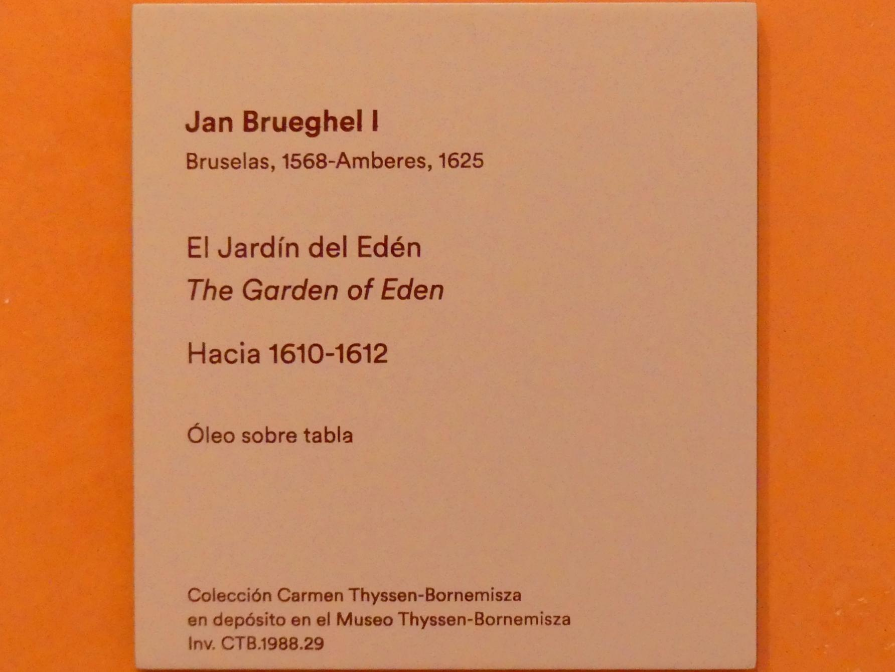 Jan Brueghel der Ältere (Blumenbrueghel): Der Garten Eden, um 1610 - 1612, Bild 4/4