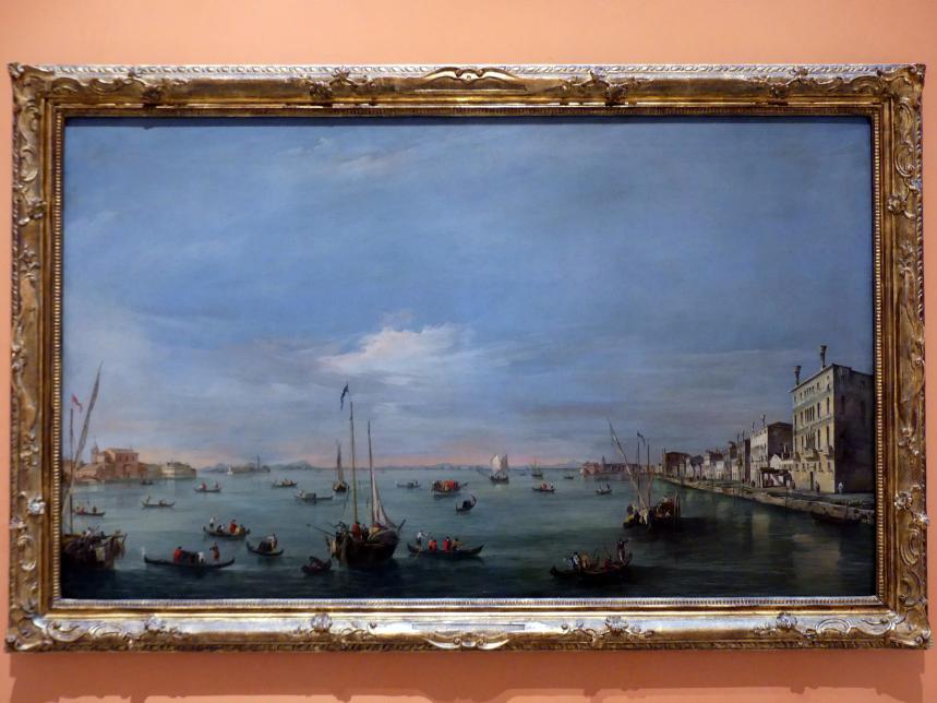 Francesco Guardi: Blick auf Giudecca-Kanal, Zattere, San Biagio und Santa Marta, San Giorgio in Alga und die Euganeischen Hügel, um 1757 - 1758