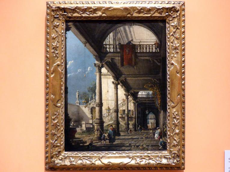 """Giovanni Antonio Canal (""""Canaletto""""): Capriccio mit Kolonnade im Interieur eines Palastes, um 1765"""