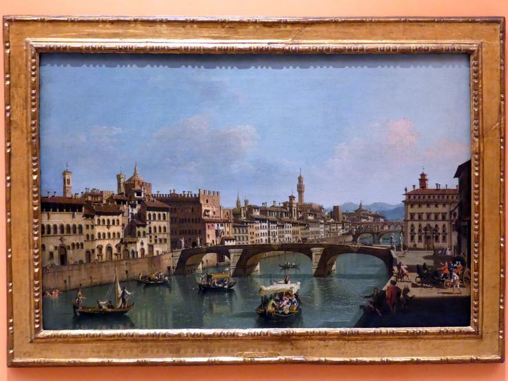 Giuseppe Zocchi: Der Arno an der Ponte Santa Trinita, Um 1741