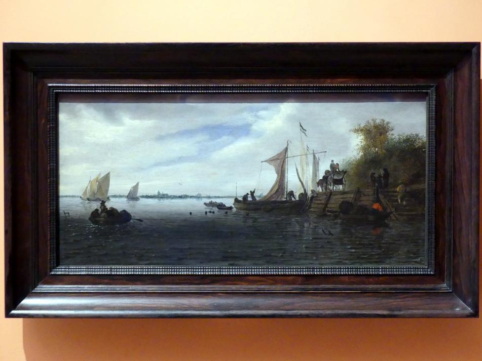 Salomon van Ruysdael: Flusslandschaft mit Figuren und einem Fuhrwerk an einem Anlegesteg mit Segelbooten, um 1660 - 1670