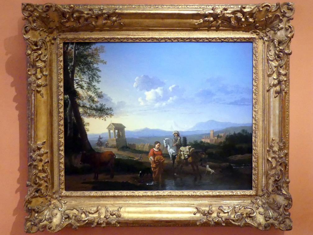 Karel Dujardin: Italienische Landschaft mit Bauern und Tieren an einem überfluteten Weg und betende Bauern an einer Kapelle im Hintergrund, um 1655 - 1660