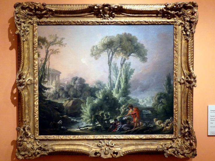 François Boucher: Flusslandschaft mit einem antiken Tempel, 1762