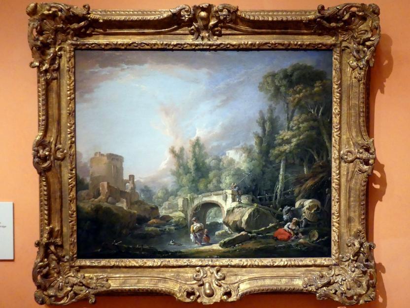 François Boucher: Flusslandschaft mit Ruine und Brücke, 1762