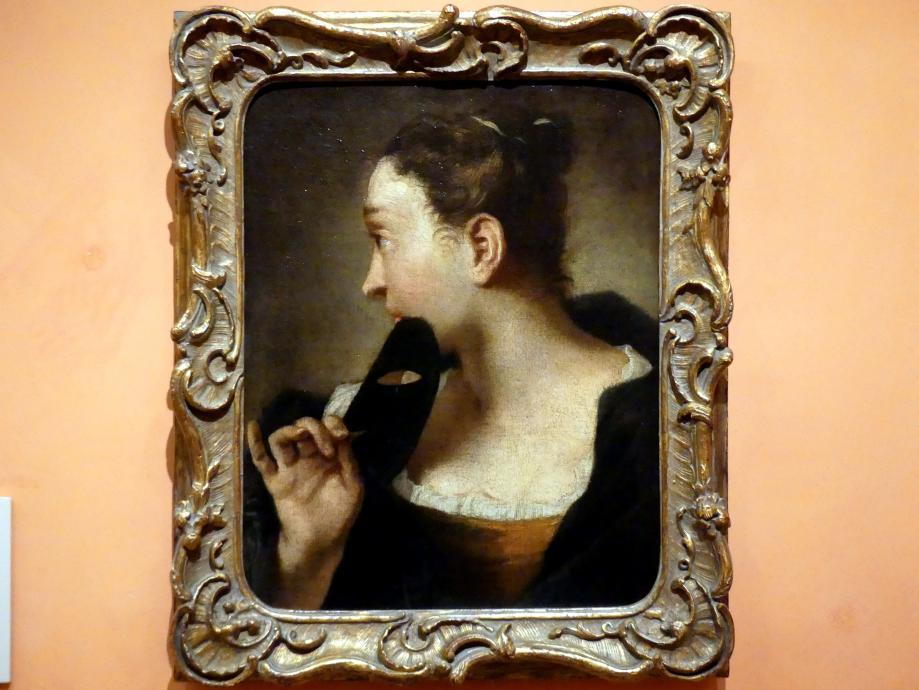 Giovanni Battista Piazzetta: Profilbildnis einer jungen Frau mit Maske in der rechten Hand, um 1720 - 1730