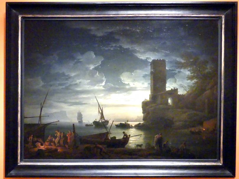 Claude Joseph Vernet: Nacht: Mediterrane Küstenszene mit Fischern und Booten, 1753