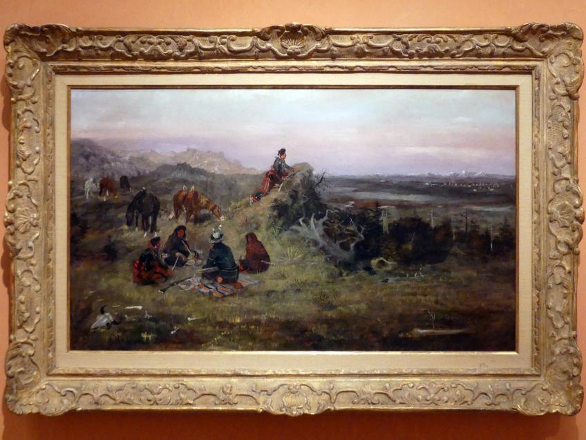 Charles Marion Russell: Die Piegan rüsten sich zum Pferdestehlen von den Crow Indianern, 1888