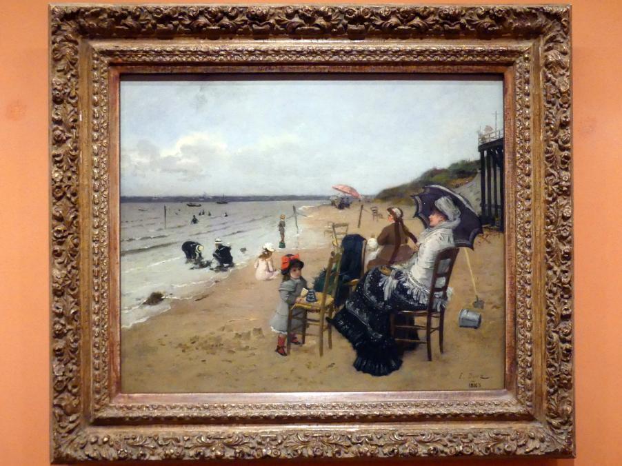 Ernest Ange Duez: Mutter und Tochter am Strand, 1885