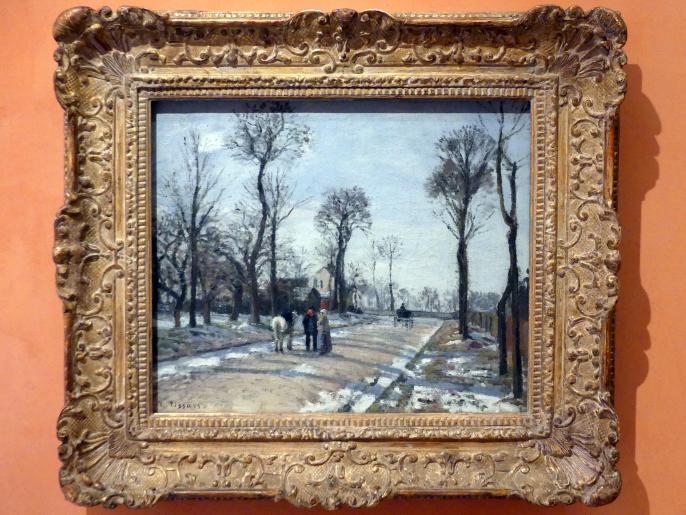 Camille Pissarro: Route de Versailles, Louveciennes, Wintersonne und Schnee, 1870