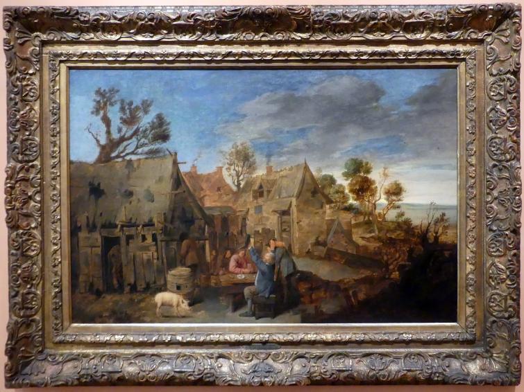 Adriaen Brouwer: Dorfszene mit zechenden Männern, um 1631 - 1635