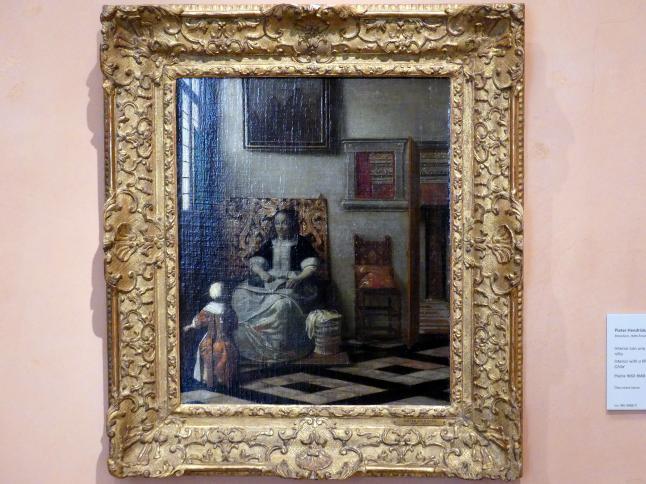Pieter de Hooch: Interieur mit nähender Frau und Kind, um 1662 - 1668