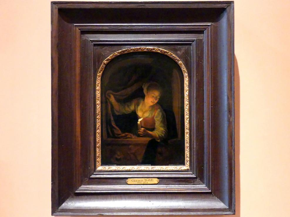 Gerard Dou (Gerrit Dou): Junge Frau mit brennender Kerze am Fenster, um 1658 - 1665