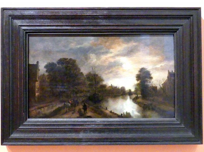 Aert van der Neer: Landschaft bei Mondlicht mit einer Straße neben einem Kanal, um 1645 - 1650