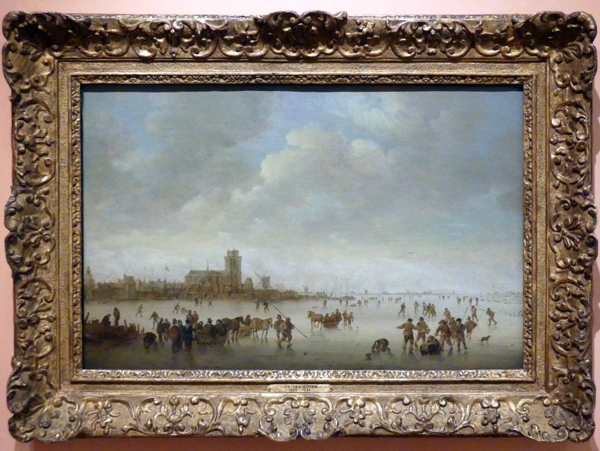 Jan van Goyen: Winterlandschaft mit Figuren auf dem Eis, 1643