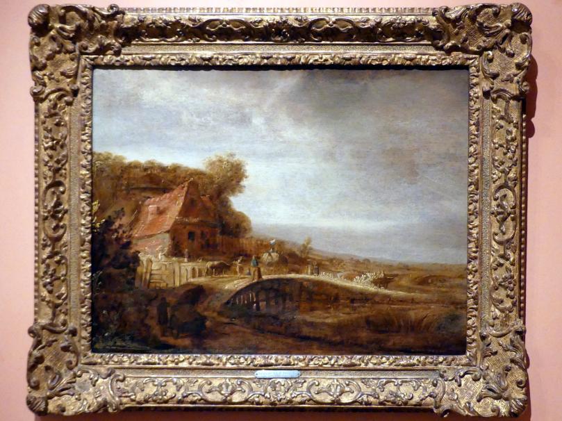 Govaert Flinck: Landschaft mit Bauernhof und Brücke, um 1640 - 1650