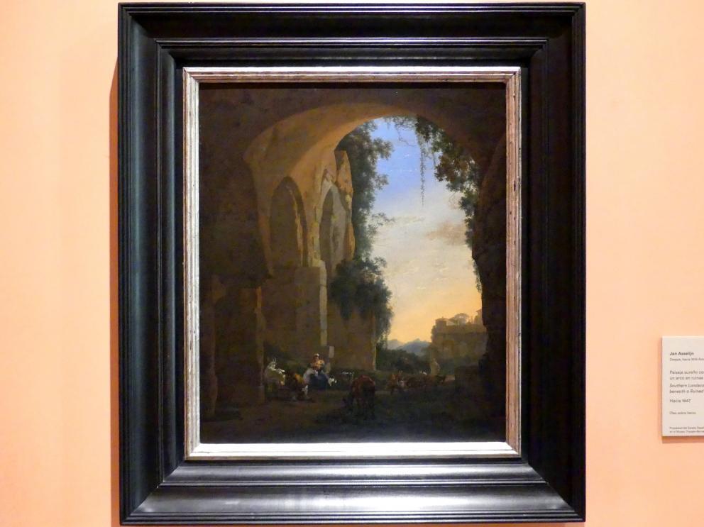 Jan Asselijn: Südliche Landschaft mit Bauern unter Gewölberuinen in der Dämmerung, um 1647