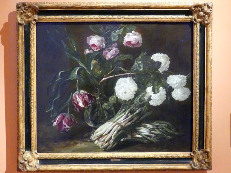 Jan Fyt: Blumenvase und zwei Bünde Spargel, um 1650