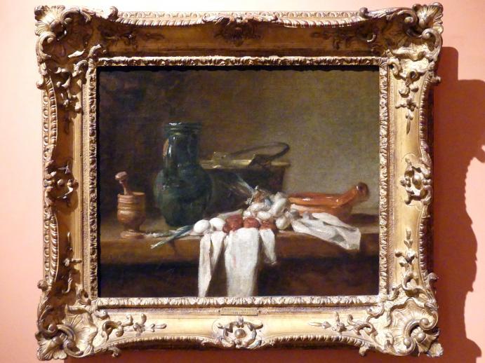 Jean Siméon Chardin: Stillleben mit Stößel und Mörser, Krug und Kupferkessel, um 1728 - 1732