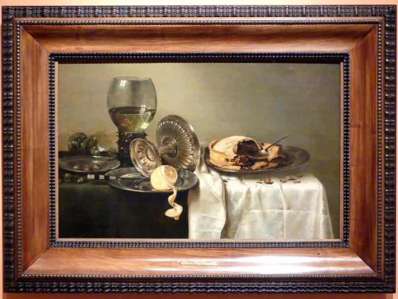 Willem Claeszoon Heda: Stillleben mit Fruchtstücken und verschiedenen Objekten, 1634