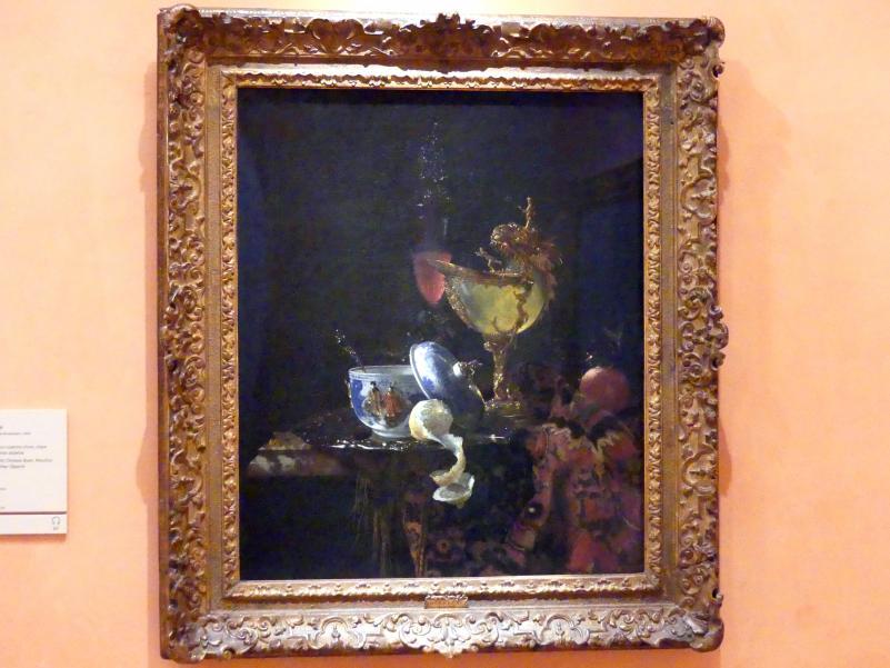 Willem Kalf: Stillleben mit chinesischer Schüssel, Nautilus-Tasse und anderen Objekten, 1662