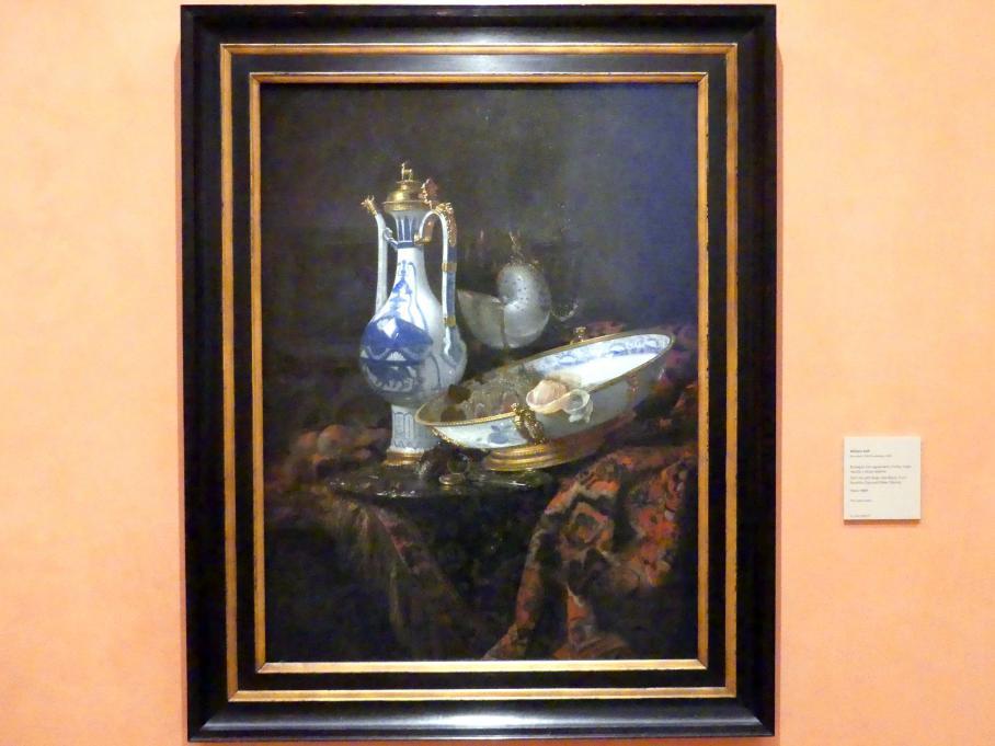 Willem Kalf: Stillleben mit Aquamanile und Schüssel, Obst, Nautilus-Tasse und andere Objekte, um 1660