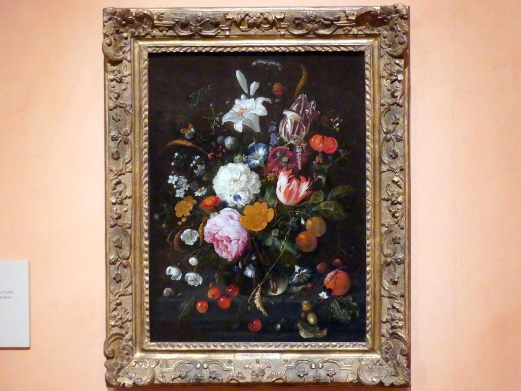 Jan Davidsz. de Heem: Blumen in einer Glasvase mit Obst, um 1665