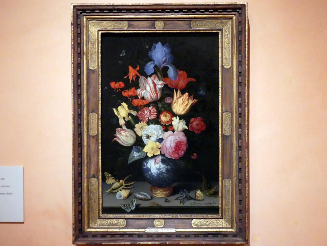 Balthasar van der Ast: Chinesische Vase mit Blumen, Muscheln und Insekten, 1628