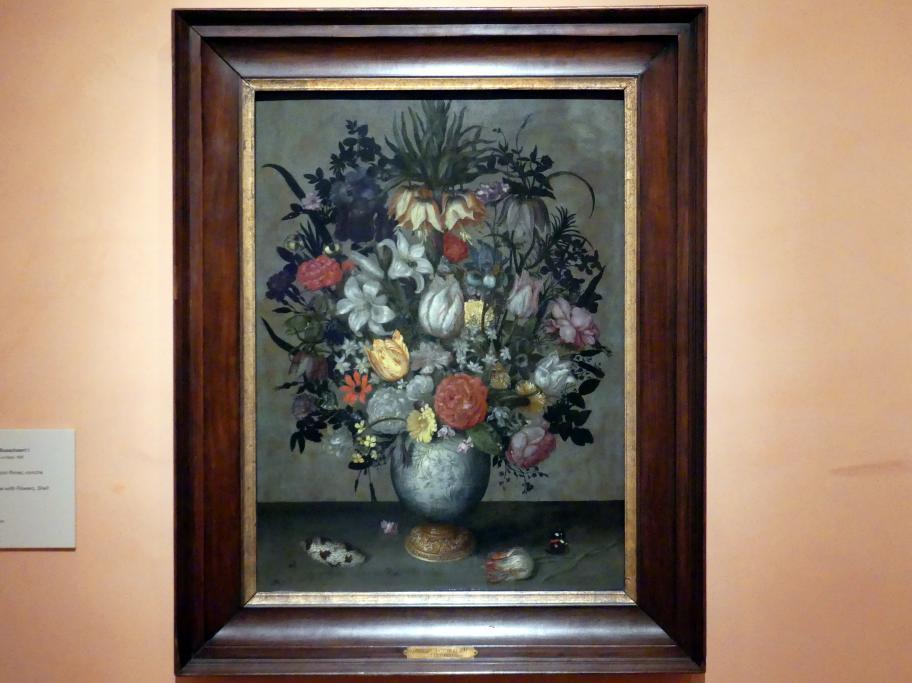 Ambrosius Bosschaert der Ältere: Chinesische Vase mit Blumen, Muscheln und Insekten, um 1609