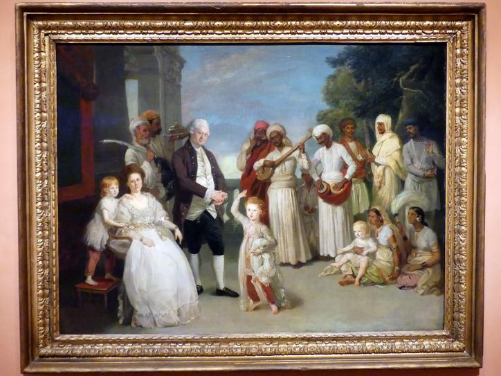 Johann Zoffani: Gruppenporträt mit Sir Elijah und Lady Impey, um 1783 - 1784