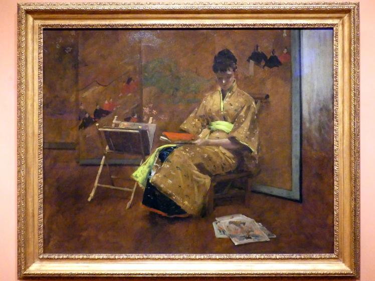 William Merritt Chase: Mädchen in japanischem Kleid. Der Kimono, um 1887