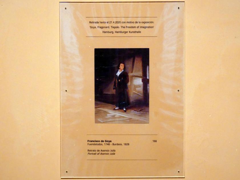 Francisco de Goya (Francisco José de Goya y Lucientes): Porträt des Asensio Juliá, um 1798