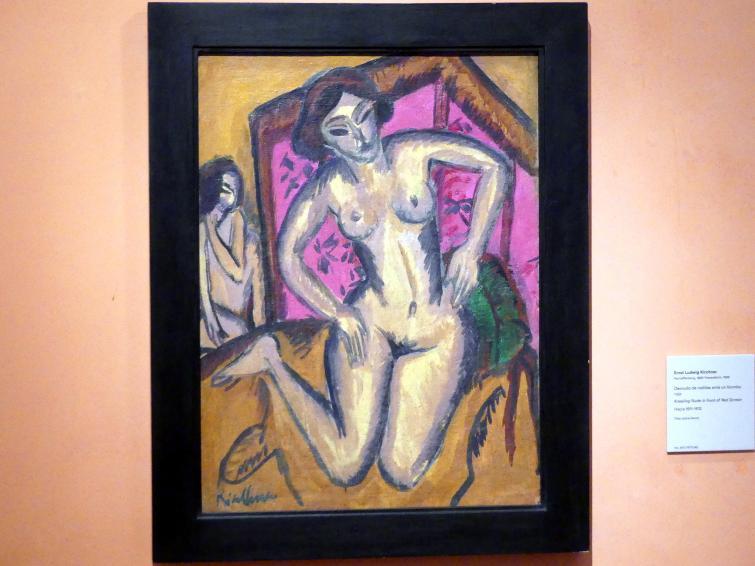 Ernst Ludwig Kirchner: Kniender Akte vor einem roten Wandschirm, um 1911 - 1912