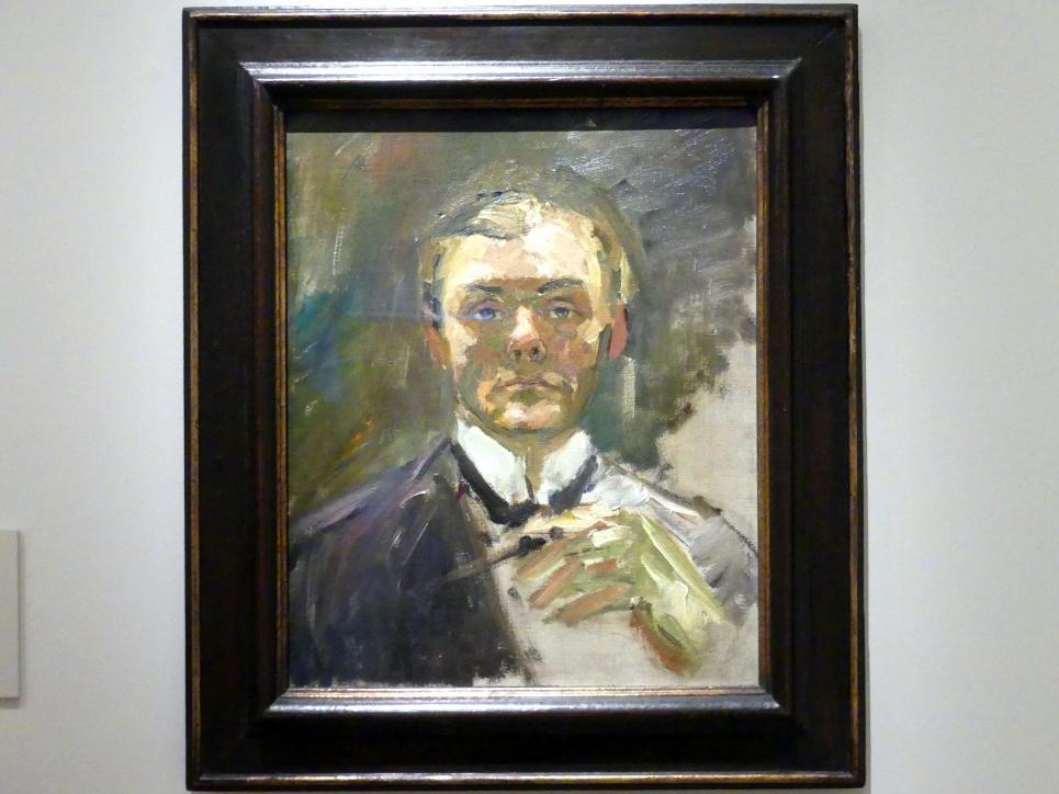 Max Beckmann: Selbstporträt mit erhobener Hand, 1908