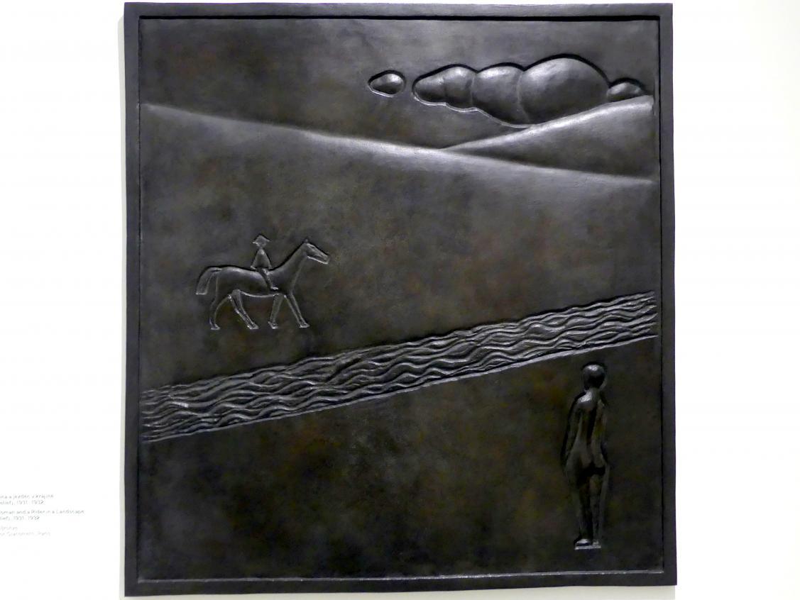 Alberto Giacometti: Weiblicher Akt und ein Reiter in der Landschaft (Flachrelief), 1931 - 1932