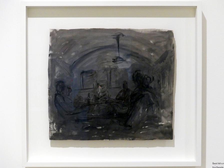 Alberto Giacometti: Sechs Menschen an einem Tisch, um 1949