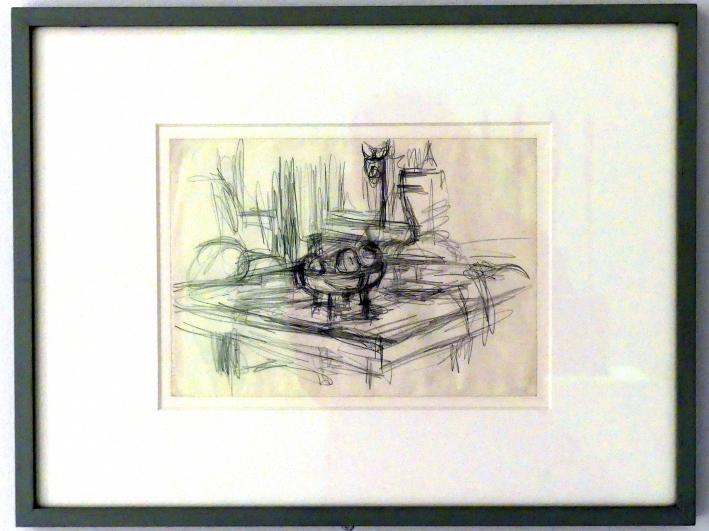 Alberto Giacometti: Äpfel in einem Kompottgericht auf einem Tisch, 1947