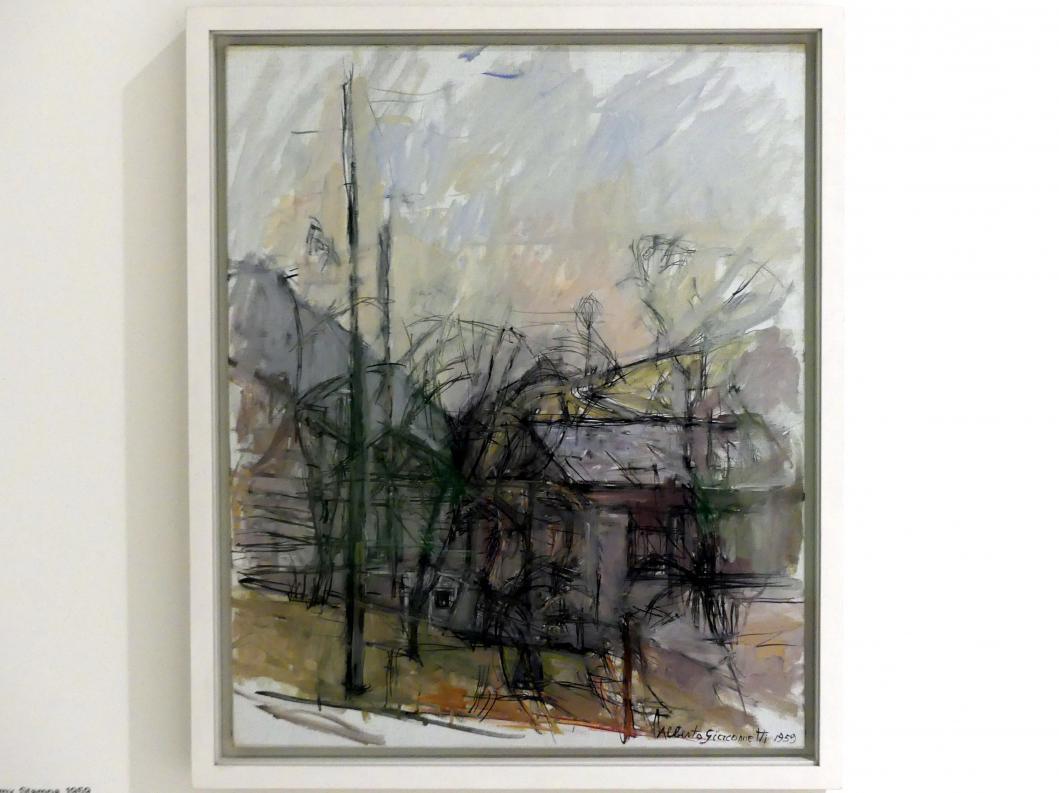 Alberto Giacometti: Landschaft mit Häusern, Stampa, 1959