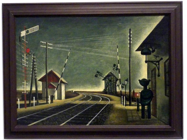 František Hudeček: Bahnhof mit Windmühle, 1941