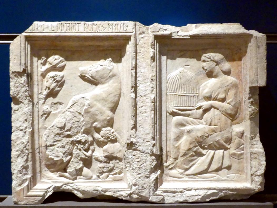 Niccolò Pisano (Nicola Pisano): Wolf mit Romulus und Remus und deren Mutter Rhea Silvia, 1278