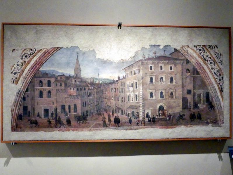 Giovan Battista Caporali: Blick auf den Palazzo Pontani in der Ortschaft Porta San Pietro, um 1535