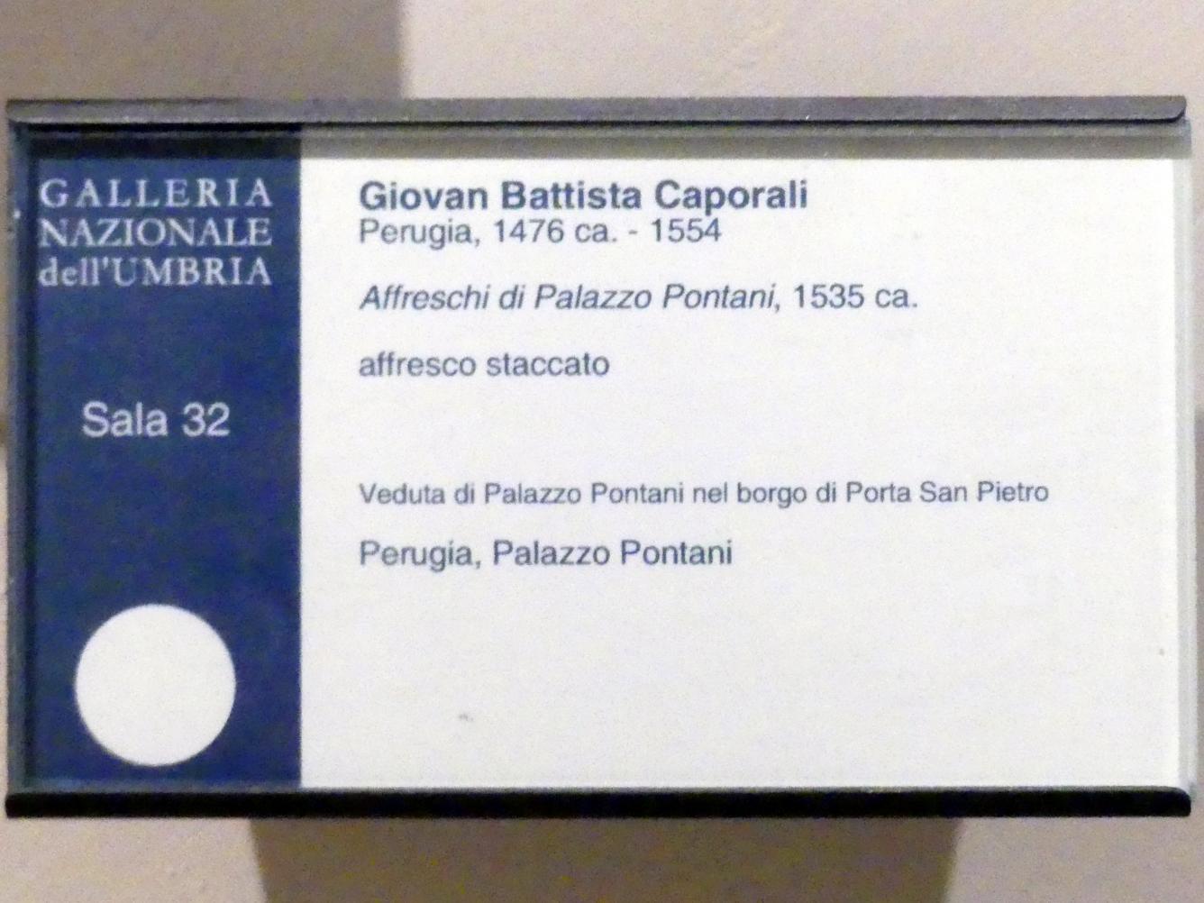 Giovan Battista Caporali: Blick auf den Palazzo Pontani in der Ortschaft Porta San Pietro, um 1535, Bild 2/2