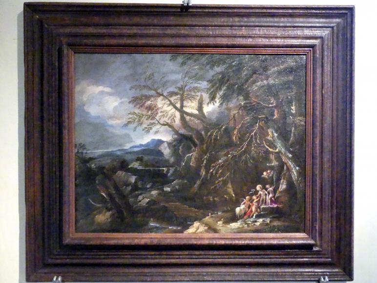 Pietro Montanini (Petruccio Perugino): Jesusknabe und Johannesknabe mit Putti in einer Landschaft, um 1680 - 1689