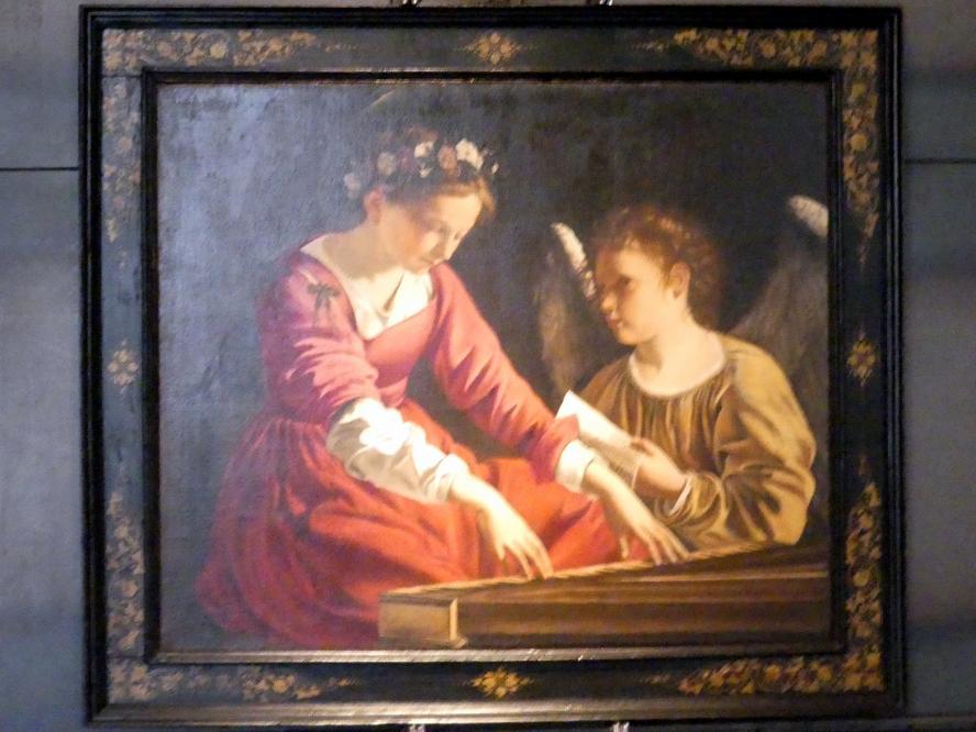 Orazio Gentileschi: Die heilige Cäcilie spielt das Spinett, unterstützt von einem Engel, 1618 - 1621