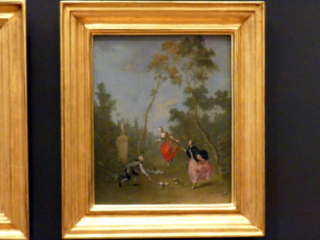 Norbert Grund: Dame auf der Schaukel (Galante Szene im Park I), um 1750 - 1760