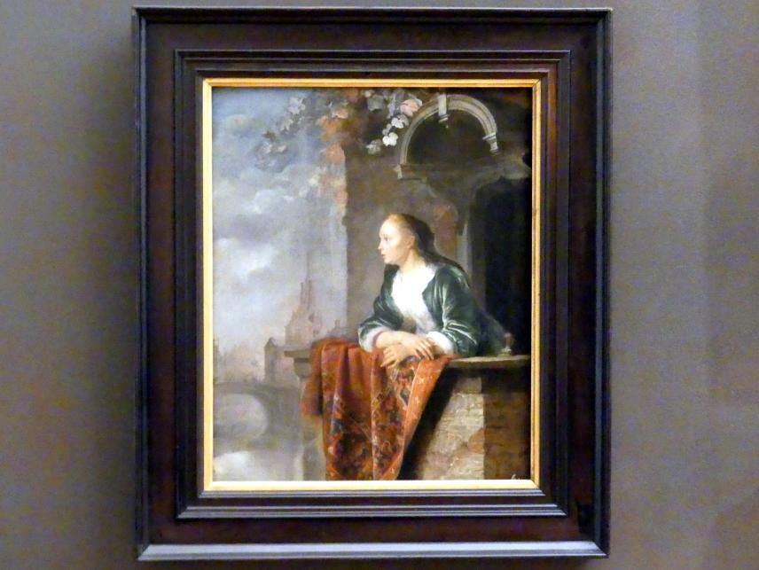 Gerard Dou (Gerrit Dou): Junge Dame auf dem Balkon, vor 1665