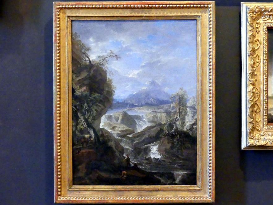 Wenzel Lorenz Reiner: Landschaft mit Wasserfall und Fischern, vor 1740