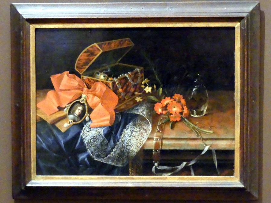 Johann Adalbert Angermayer: Stillleben mit Schmuckschatulle und Medaillon, 1708