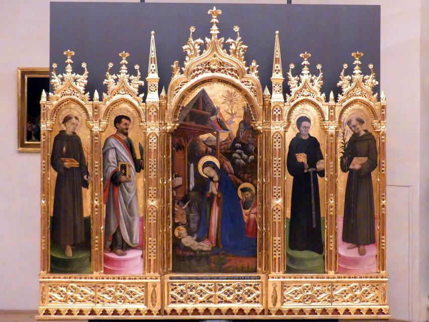 Antonio Vivarini (Antonio da Murano): Polyptychon mit Anbetung des Kindes und Heiligen, 1447