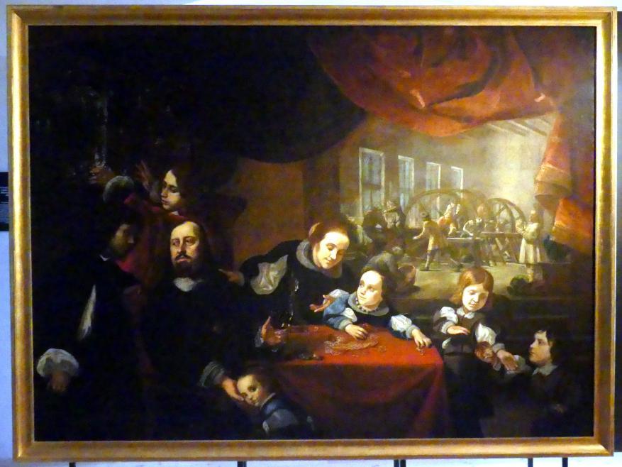 Karel Škréta: Bildnis des Edelsteinschneiders Dionysius Miseroni mit Familie, 1653